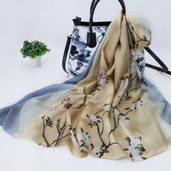 Women Luxury Brand 2020 Fashion Female GRAY22 Designer Big Florals Digital Printed Silk Foulard