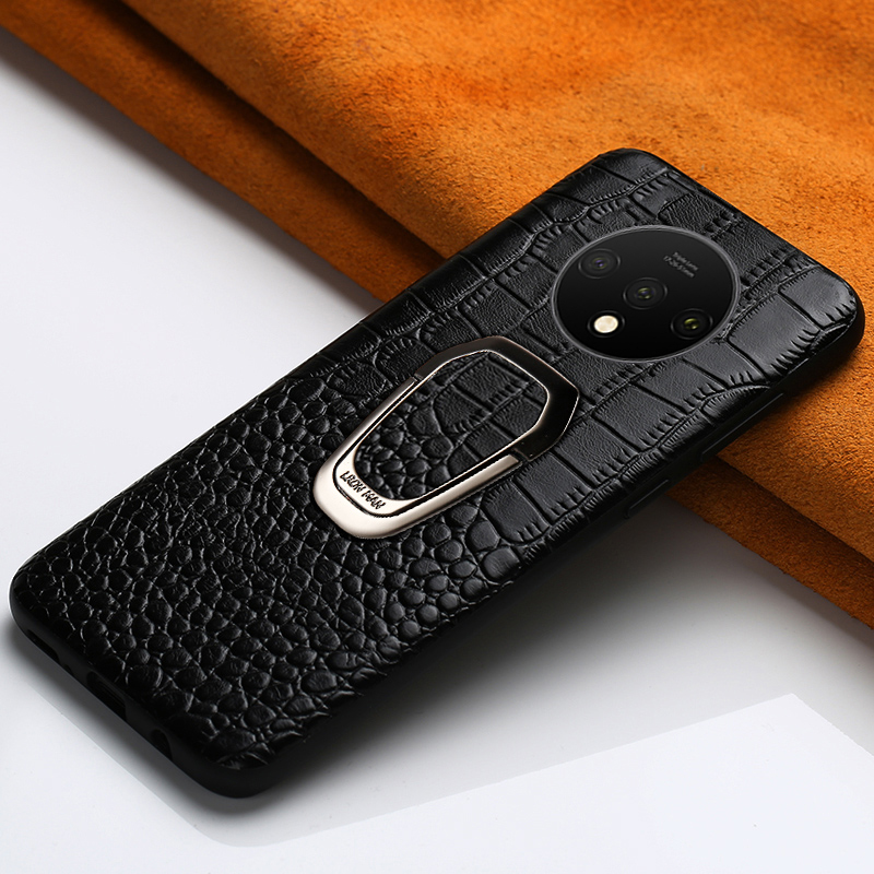 LANGSIDI Genuine Leather Ring bracket Magnetic phone case for oneplus 7 7pro 6 6T Luxury cover