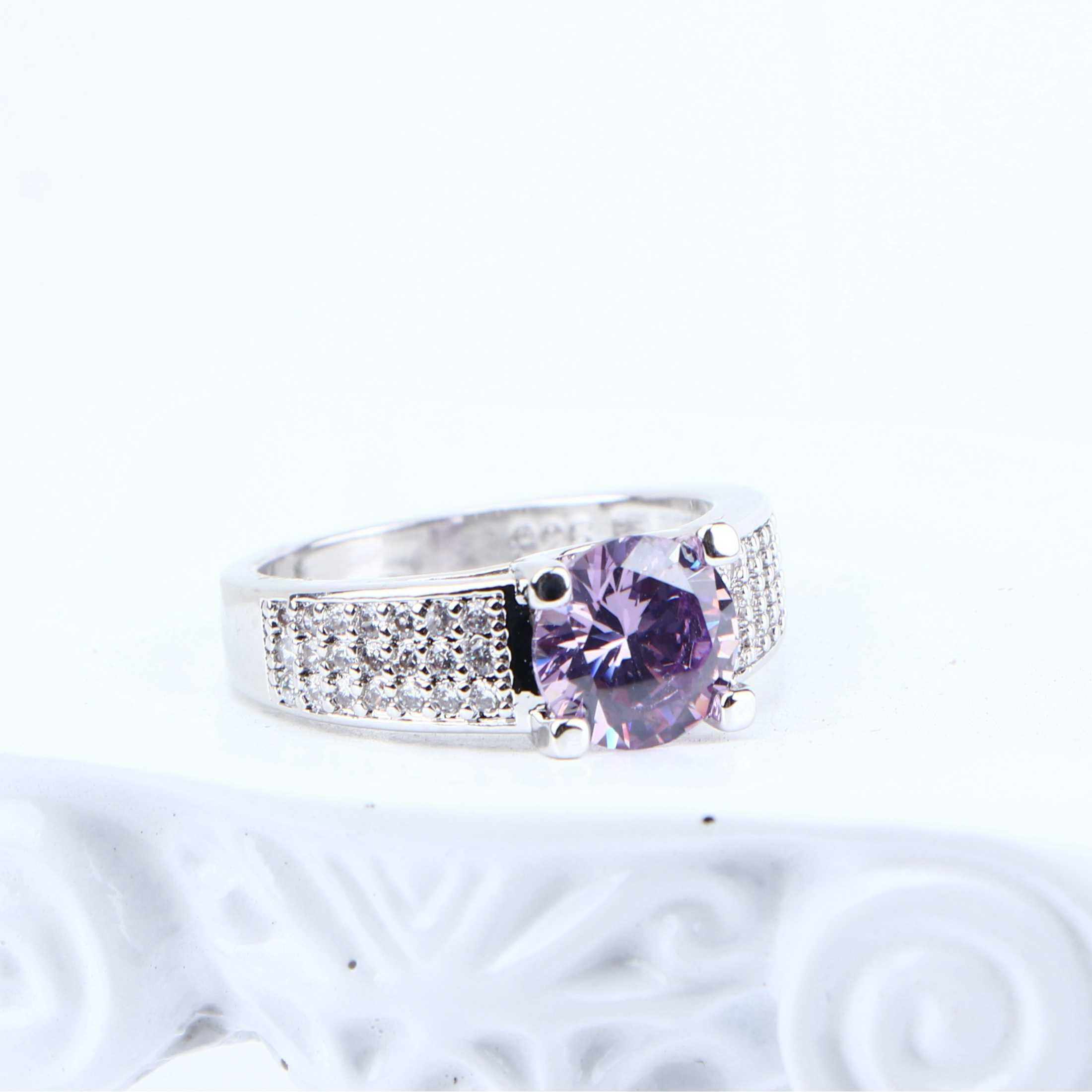 סגול Zirconia כלה תכשיטי סטי כסף 925 נשים תלבושות תכשיטי חתונה שרשרת תליון טבעת עגילי צמיד מתנת קופסא
