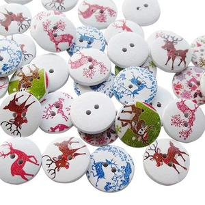 suoja 20/50pcs Santa Christmas Deer Wood Buttons 20mm Sewing Mix Lots