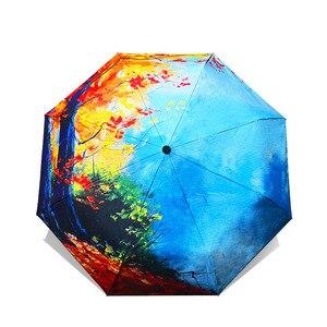 Image 4 - כמו גשם שמן ציור נשי מטריית גשם נשים מתקפל שמשייה מופשט אמנות עיצוב מטריות אנטי Uv שמש ילדים מטריות YHS02
