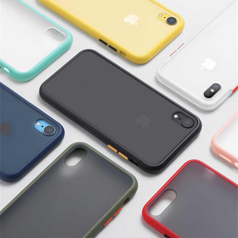 מנטה היברידי פשוט מט טלפון מקרה עבור iPhone 11 פרו X XR XS מקסימום 6 7 8 בתוספת יוקרה ניגודיות צבע פגוש ברור רך כריכה אחורית