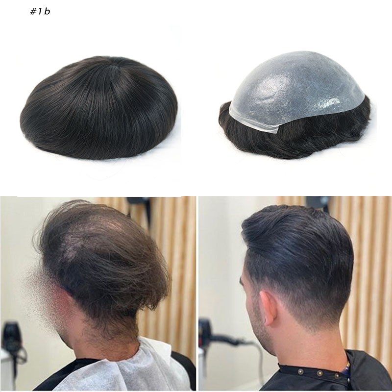 PU Replacement System For Men Toupees Human Hair V Loop 8x10 Inches European Remy Human Hair Men's Toupee Rosa Queen