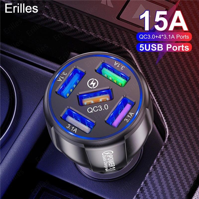 Автомобильное зарядное устройство с 5 USB-портами для iphone 12, xiaomi, redmi, Huawei, Samsung, быстрая зарядка 3,0, портативные usb-зарядные устройства, адаптер