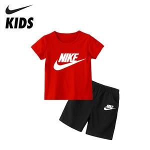 Nike Girl T-Shirt Clothing-Sets Short-Sleeve Kids Children Summer Boy Cotton for 2Y-10Y