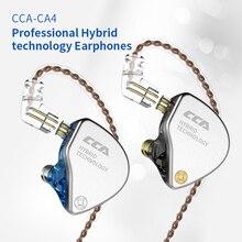 CCA CA4 en 1DD + 1BA casque hybride dans le moniteur doreille 4 unité dentraînement suppression du bruit en cours dexécution sport écouteur 2Pin câble détachable