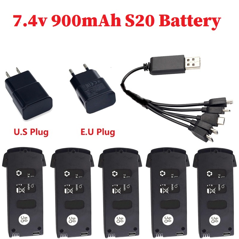 <font><b>7.4V</b></font> <font><b>900mAh</b></font> Lipo Battery with battery charger sets For S20/H78G Drone RC Quadcopter Spare Parts for S20/H78G Drone <font><b>7.4v</b></font> Battery image