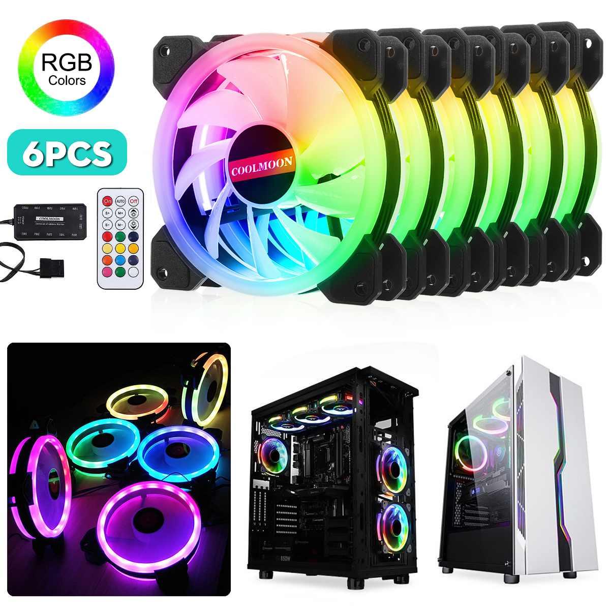 6 pièces coque d'ordinateur PC ventilateur de refroidissement RGB ventilateur de refroidissement refroidisseur ajuster LED 120mm silencieux IR ordinateur à distance refroidisseur ventilateur de refroidissement CPU - 2