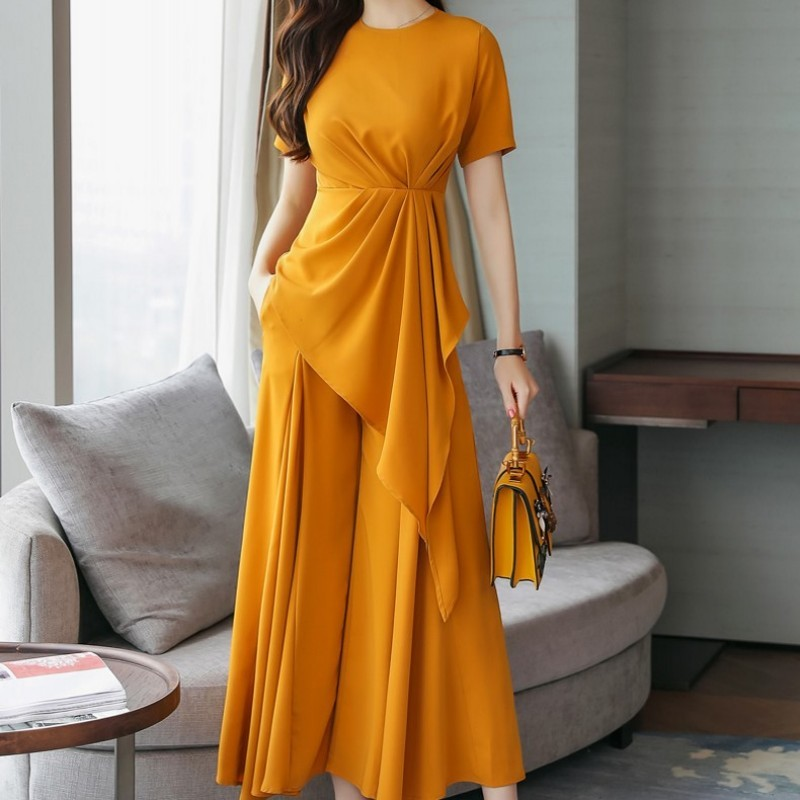 2020 Two Piece Outfits For Women Fashion Solid Short Sleeve Loose Straight Wide Leg Pants For Female Sets Elegant Slim Lady Sets