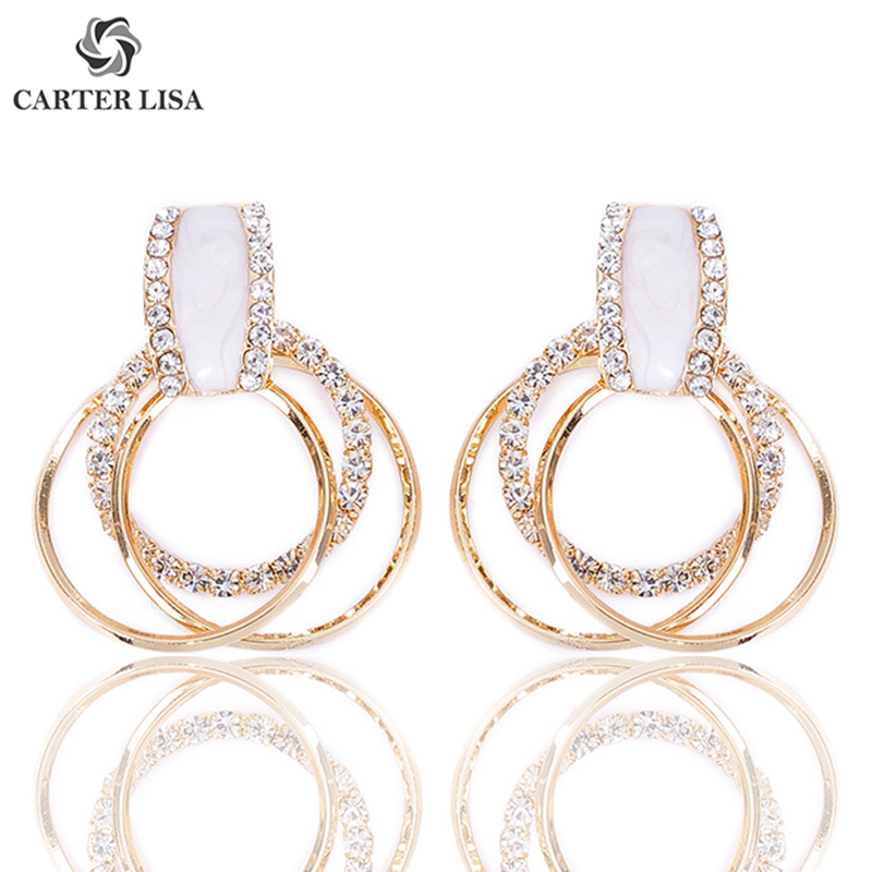 CARTER LISA Modern Rhinestone Pave Circle Round Drop Earings For Women Girl Fashion Jewelry Party Christmas Gifts Brincos