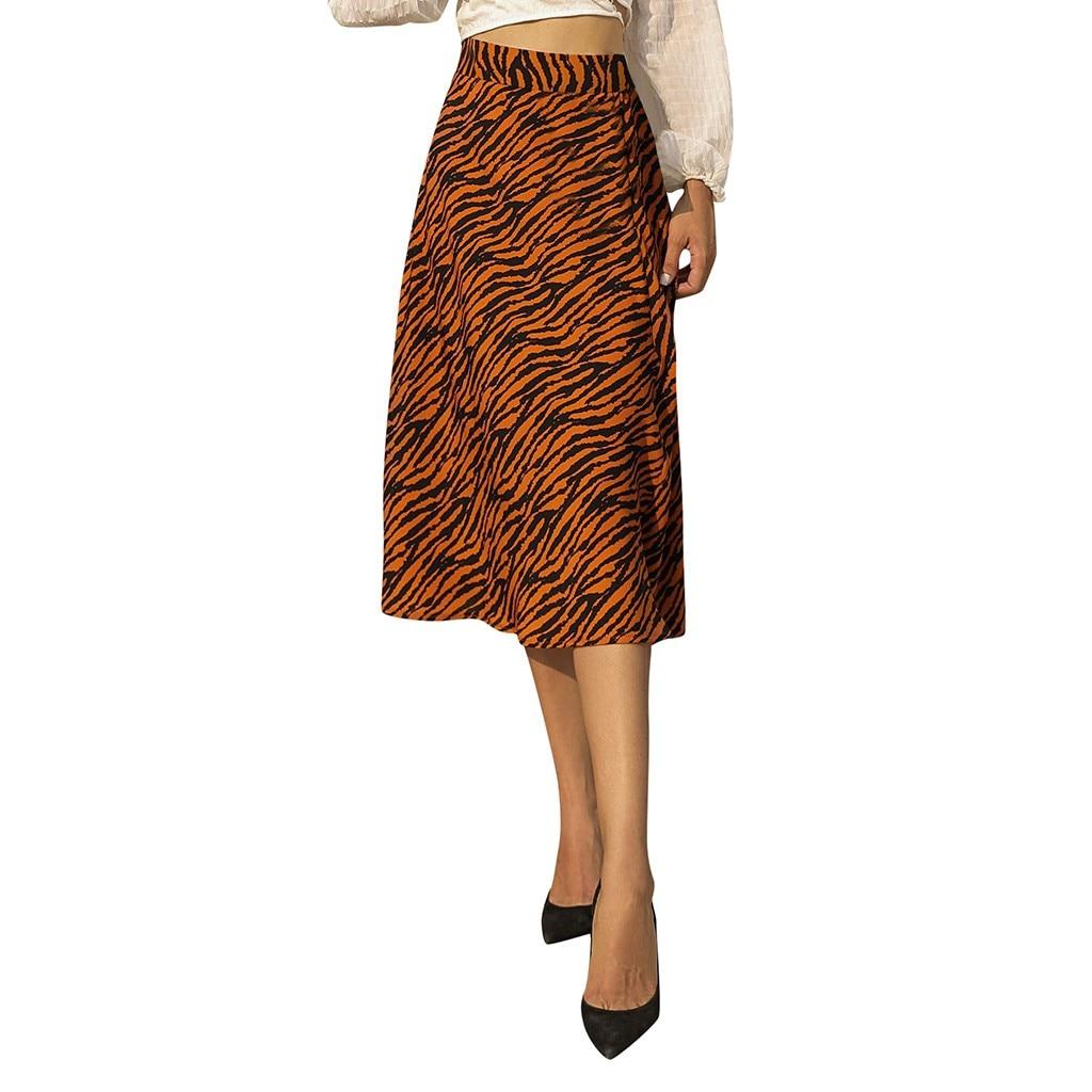 Women Winter and Autumn Fashion Vintage High Waist Mid-Calf Skirt Zebra Pattern Print A-line Midi Skirt Rokjes Dames Faldas #W