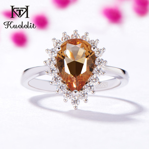 Image 2 - Kuololit Zultanite Gemstone Ring for Women Solid 925 Sterling Silver Created Color Change Water Drop Stone Ring Fine Jewelry