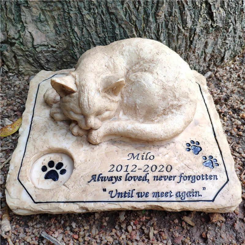 Pedra memorial do animal de estimação marcadores do túmulo do jardim pedras personalizáveis gato memorial pedras com um 3-d dormindo gato na parte superior da pata impressão