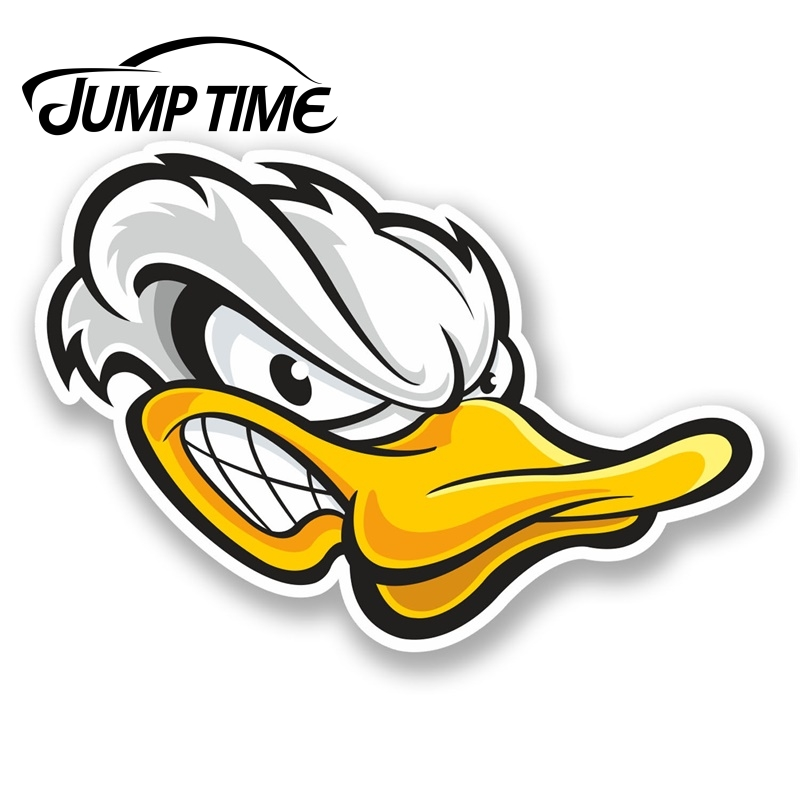Jump Time For Angry White Duck Head Vinyl Sticker Laptop Helmet Car Bike Kids Decal Window Tank Waterproof Car Decoration