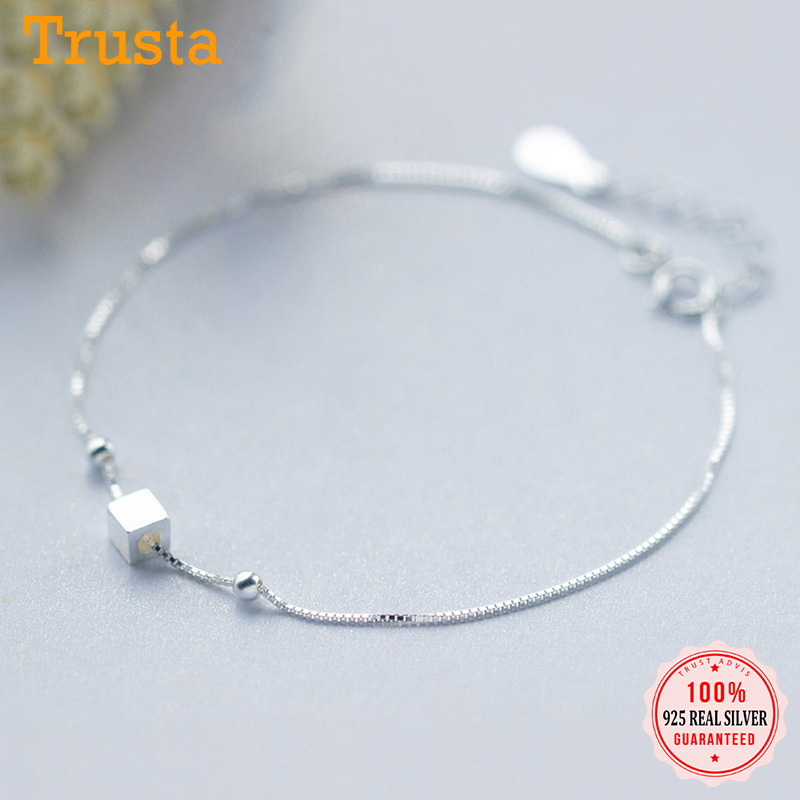 TrustDavis 100% 925 Real Sterling Silver Fashion Women's Jewelry Square Anklets For Women Gift Girls Lady Drop Shipping DS601