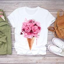 Harajuku Tshirt Women Summer Clothes Floral Flower Bottle Print Sweet Short Slee
