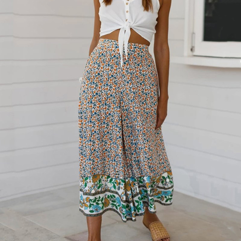 Boho Print Chiffon Suits Sexy Long Sleeve Deep V Crop Tops High Waist Casual Elegant Wide Leg Long Trousers Summer Sets Femme