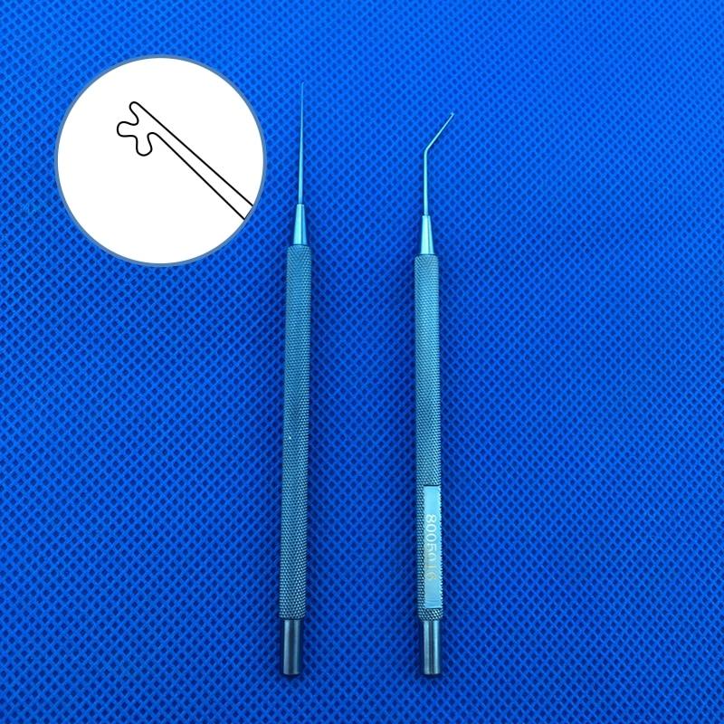 1pc liga de titanio kuglen iris gancho e lente manipulador push pull instrumento oftalmico gancho em