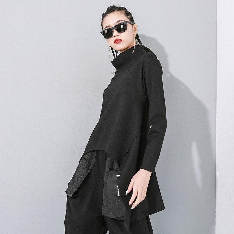 [EAM] Loose Fit Black Split Asymmetrical Sweatshirt New Turtleneck Long Sleeve Women Big Size Fashion Tide Spring 2020 1N482 2