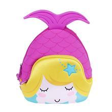 Nohoo mochila escolar impermeável, mochila bonita de desenho animado sereia para crianças pequenas, jardim de infância
