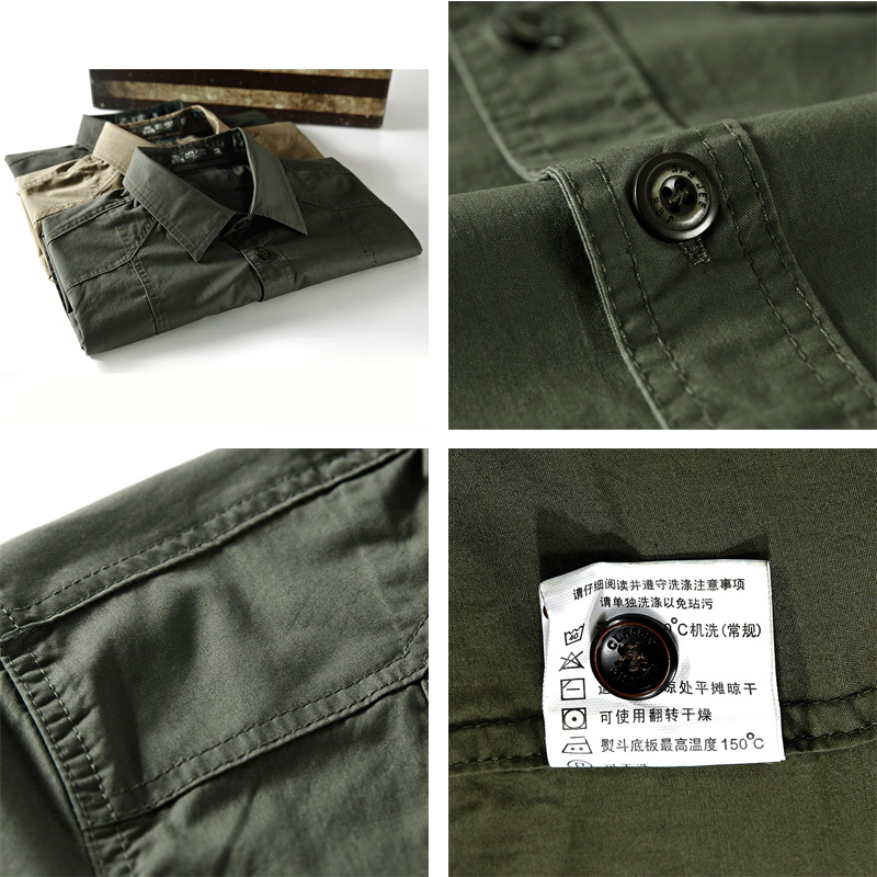 Military-Shirt-Men-Cotton-Tooling-Casual-Shirts-Men-Short-Sleeve-Loose-Army-Pockets-Breathable-High-Quality