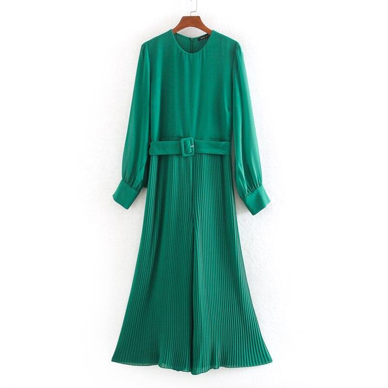 Stylish Chic Green Tie Belt Waist Jumpsuits Women Fashion O-Neck Collar Jumpsuits Elegant Ladies Pleated Jumpsuits