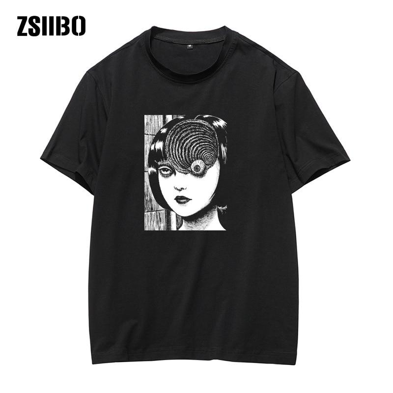 harajuku Man Manga Junji Ito T Shirts Shintaro Kago Girl Tees Shirt Top Design Short-sleeved Aesthetic Japanese Anime t shirt(China)