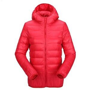Image 3 - ZOGAA kadın ultra hafif şişme mont kapşonlu kış ördek aşağı ceket kadın ince uzun kollu Parka fermuar Coats cepler ceketler