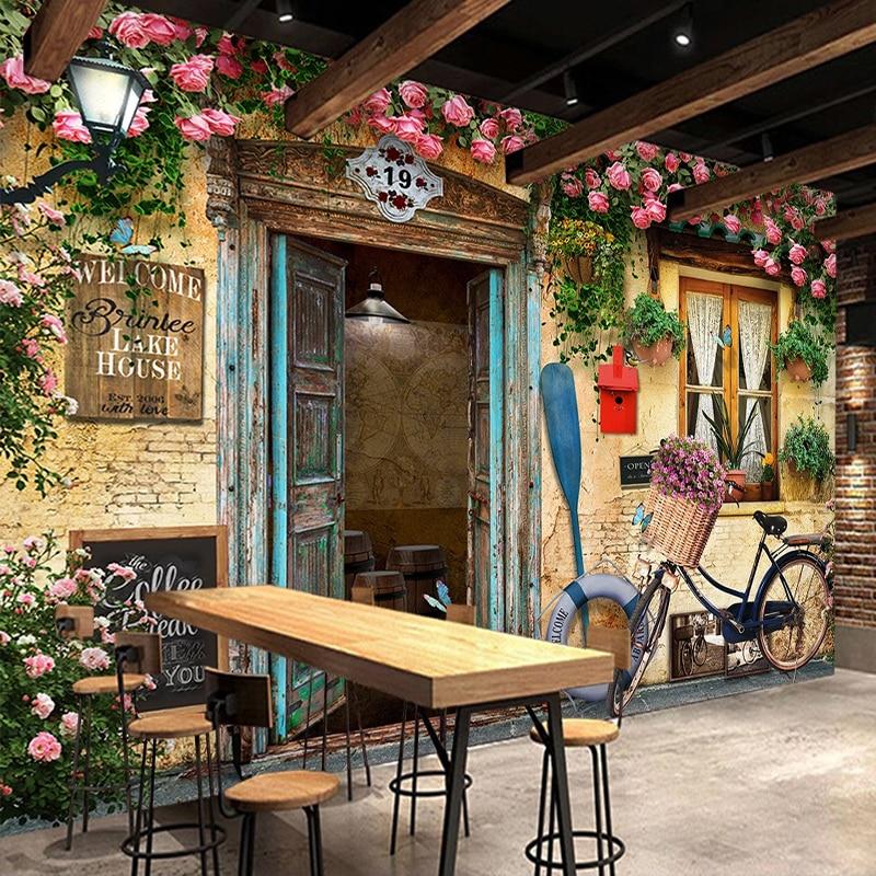 Custom 3D Wall Murals Retro Nostalgic European Style Building Bike Window Flowers Photo Wallpaper Cafe Restaurant Mural Decor