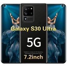 Venda quente novo smartphone galaxy s30 ultra 7.2 polegada display completo 12gb + 512gb reconhecimento facial 5g lte duplo sim com gps celular