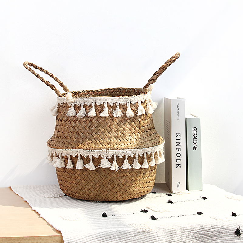 Seagrass Woven Storage Basket Plant Wicker Hanging Baskets Garden Flower Vase Potted Foldable Pot With Handle Storage Basket