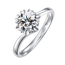 BOEYCJR 925 シルバー雪の結晶 0.5ct/1ct F 色モアッサナイト VVS 婚約結婚指輪女性のための国家証明書