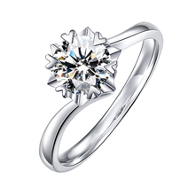 BOEYCJR 925 Silver Snowflake 0.5ct/1ct F color Moissanite VVS  Engagement Wedding Ring With national certificate for Women