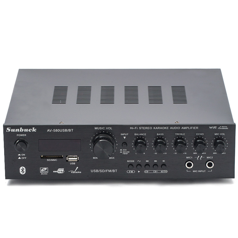 220V 5.1 Channel 300W High Power SD USB FM Bluetooth Remote Control Power Amplifier Home AV Amplifier