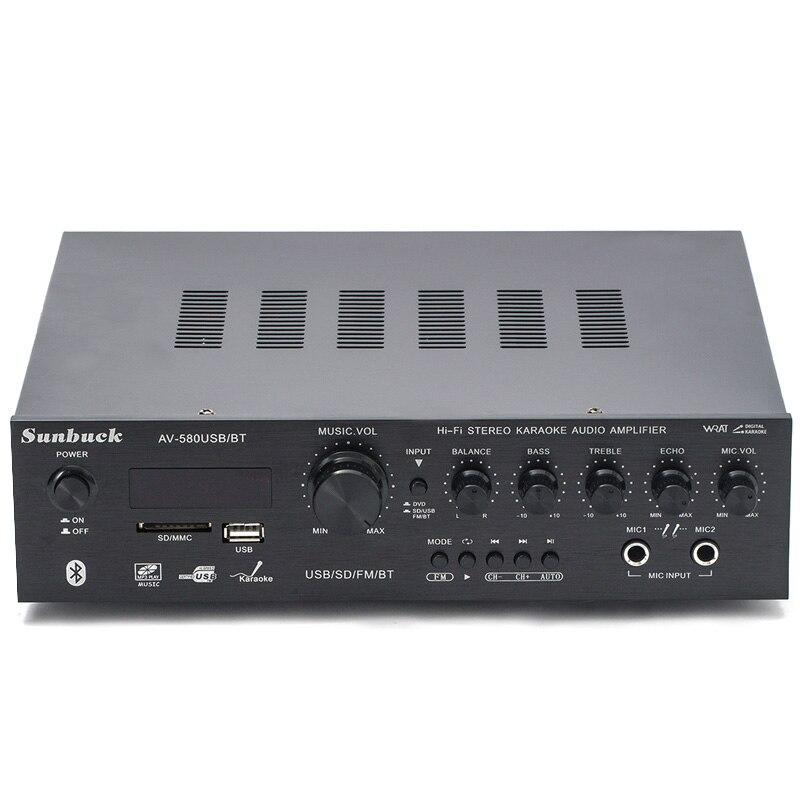 220V 5,1 kanal 300W high power SD USB FM Bluetooth fernbedienung power verstärker hause AV verstärker