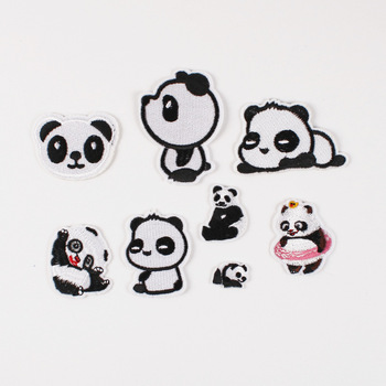 Embroidered Cloth Stickers Clothing Accessories Badge Patch Stickers Customized Panda Cross-Border AliExpress Amazon image