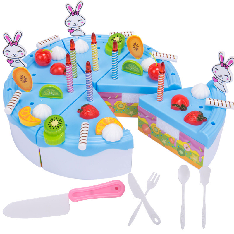 46PCS Pretend Play Birthday Cake Cutting Fruit Toy DIY Kitchen Food Gift For Children Kids