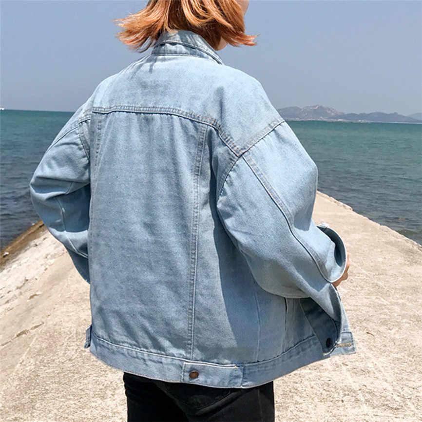 Джинсовый женский пиджак женский свободный длинный рукав джинсовое Пальто Ретро ковбойский джинсовый Свободный Повседневный Карманный пиджак джинсы оверсайз куртка