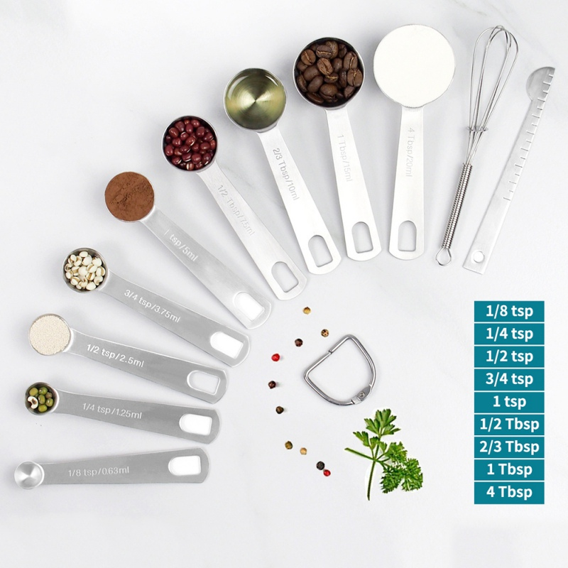 8/11pcs Stainless Steel Detachable Ring Holder Measuring Spoons Set Magnetic With Measuring Ruler For Kitchen Cooking Baking