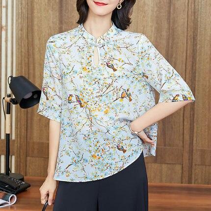 Blouses en soie florale dames bureau sexy décontracté blanc imprimé oiseau fleur dessus de chemise 2019 été femmes grande taille livraison gratuite