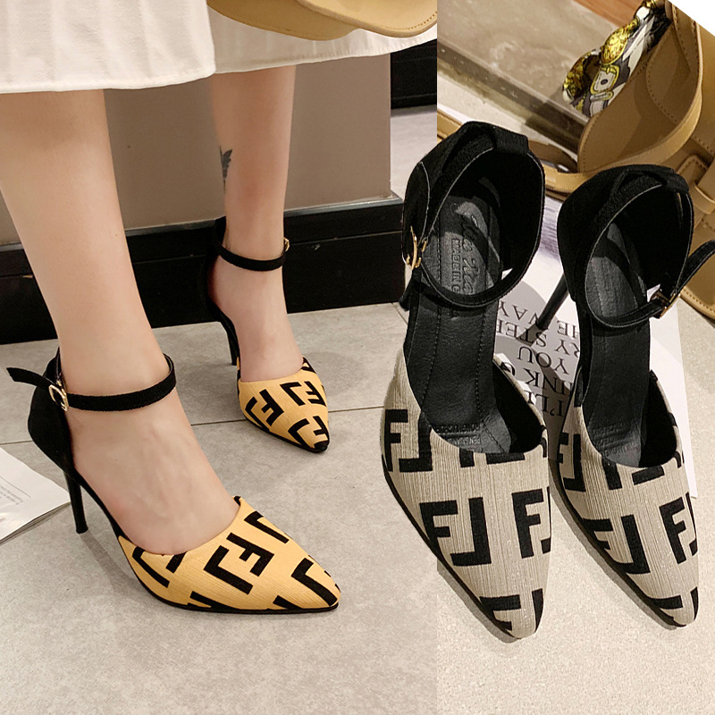 2019 New Style Spring Closed-toe Versatile Pointed-Toe Thin Heeled High Heel Shoes Korean-style Mixed Colors A- Line Buckle Semi
