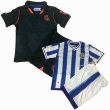 2021 crianças define real sociedad uniformes meninos e meninas esportes crianças camisas + shorts ternos de treinamento em branco conjunto personalizado