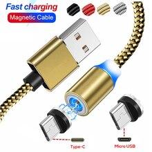 מגנטי כבל קלוע סוג C USB מגנט כבל עבור סמסונג S10 S9 S8 בתוספת נתונים מטען כבל עבור iPhone XR XS מקסימום 7 מיקרו כבלים