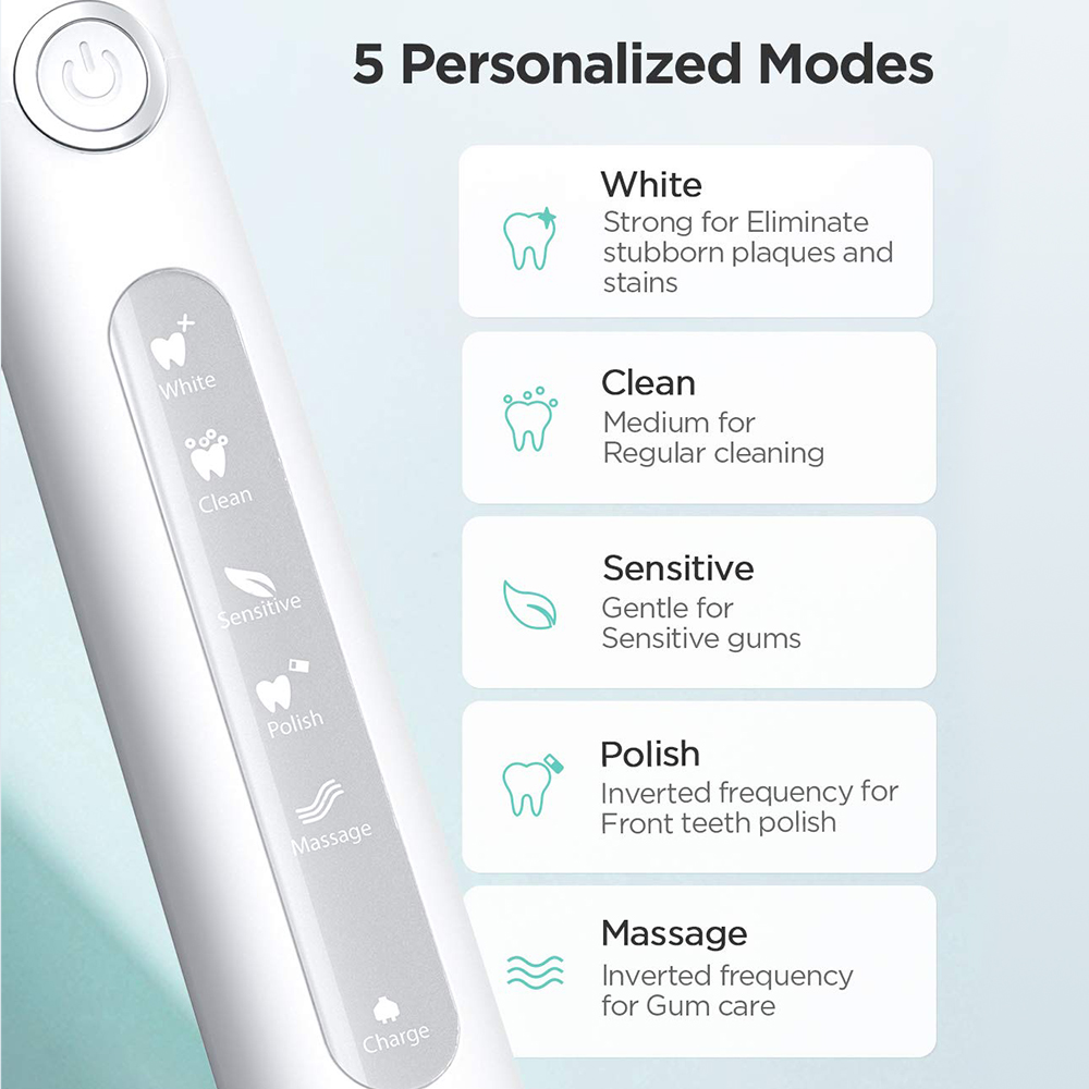 Fairywill Electric Sonic Toothbrush FW-507 USB Charge Rechargeable Waterproof Electronic Tooth Brushes Replacement Heads Gift