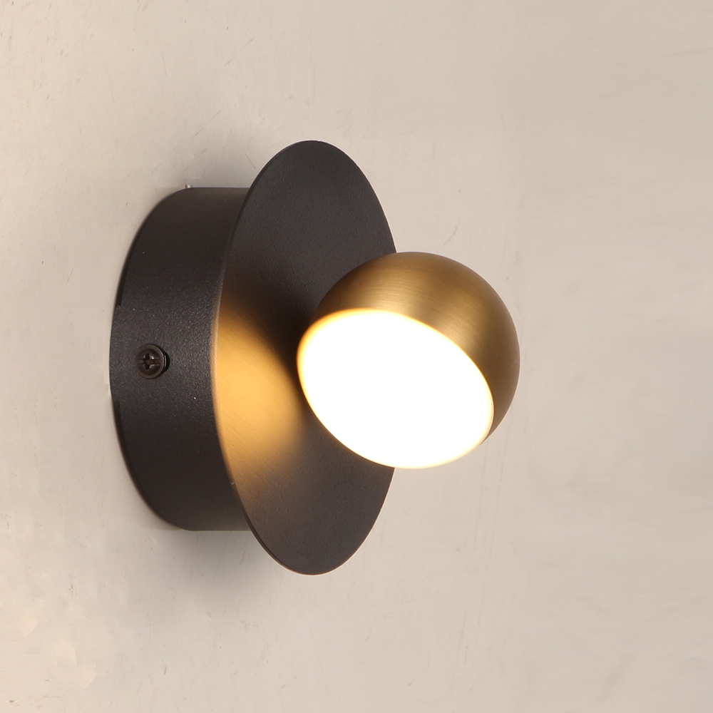 Lamplo modern 3W mini LED wall lamp Nordic white acrylic Black brass Bedside wall light Restaurant Aisle study Wall Sconce|LED Indoor Wall Lamps| |  - title=