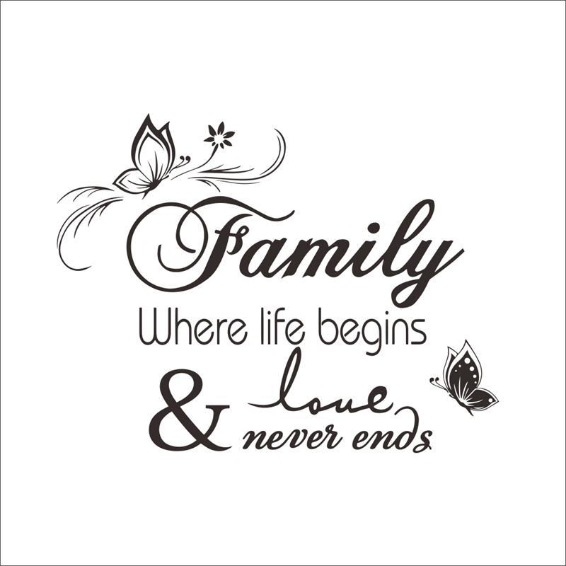 8348 2 Family where life begins wall stickers butterflies vinyl home decoration waterproofing sticker
