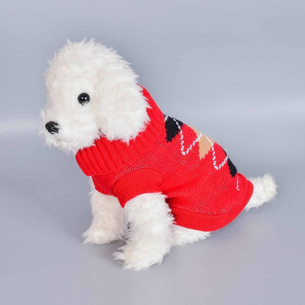 Hund Pullover Hund Kleidung für Hunde Katze Stricken Pullover Kätzchen Jacke für Hunde Welpen Klassische Sweatshirt Pet Mantel Wein Rot tunika # p7