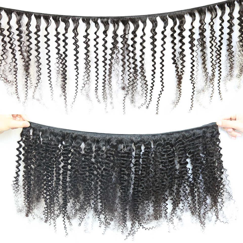 Kinky Kıvırcık Saç 1/3/4 adet Doğal Renk 6-30 inç Brezilyalı Saç Örgü Demetleri Remy insan saçı postiş DJSbeauty