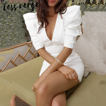 lessverge Puff sleeve v neck backless white dress Women sexy short pencil bodycon Autumn winter elegant vestidos