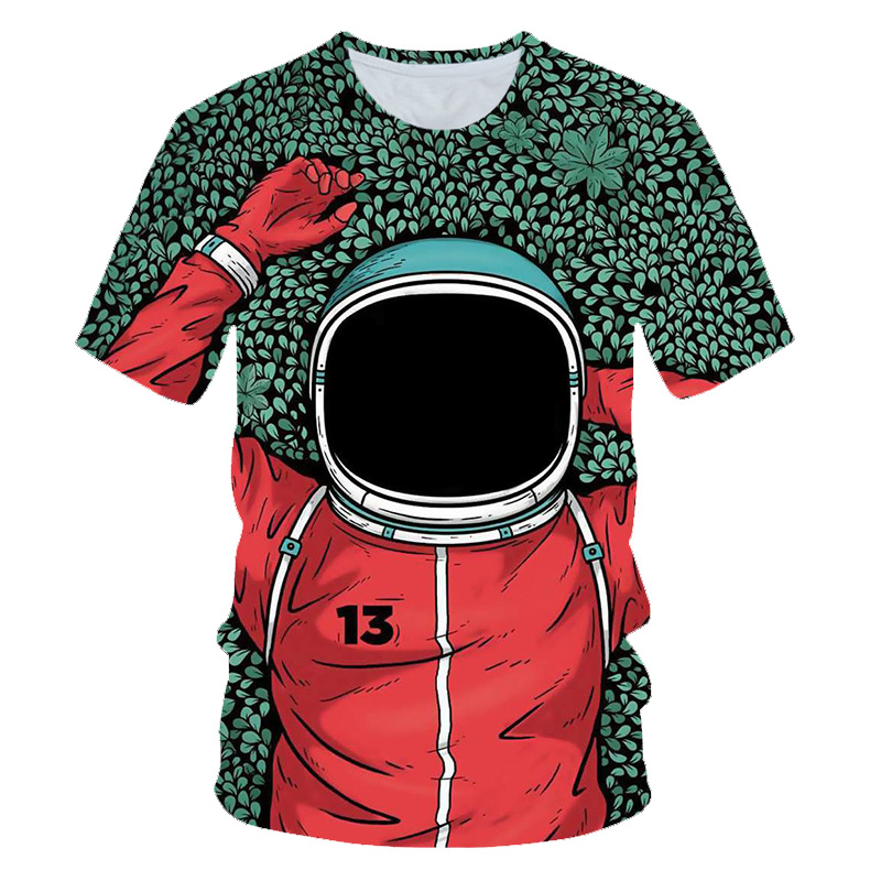 2019 baby boy clothes 3D printed astronaut cartoon t shirts summer fashion casual short sleeves for children for Boys and girls|T-Shirts| - AliExpress